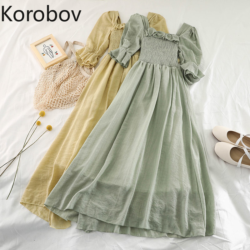 Korobov Women Flare Sleeve Ruffles Square Collar Chiffon Dress New Mesh Pullover Elastic Slim High Waist Voile Vestidos  78484