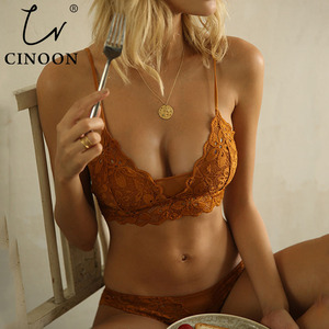 CINOON New Women's underwear Set Lace Sexy Push-up Bra And Panty Sets Comfortable Brassiere Embroidery Cotton Lingerie set