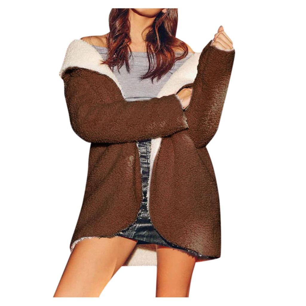 manteau femme winter coat women's  Ladies   Curved Hem Fleece Warm wool coat abrigo mujer casaco feminino plaszcze damskie
