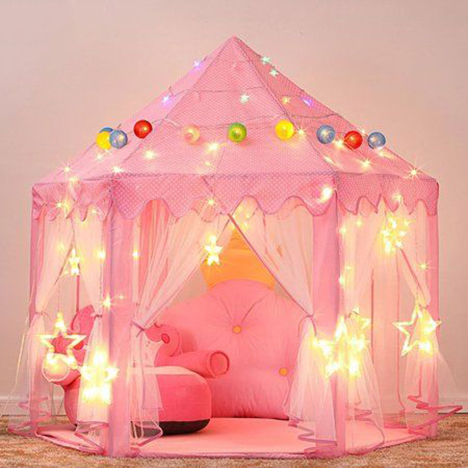 Portable Children's Tent For Kids Tent Toys Girls Princess Castle Tipi Infantil Children's House Vigvam Teepee Baby Tent Gifts