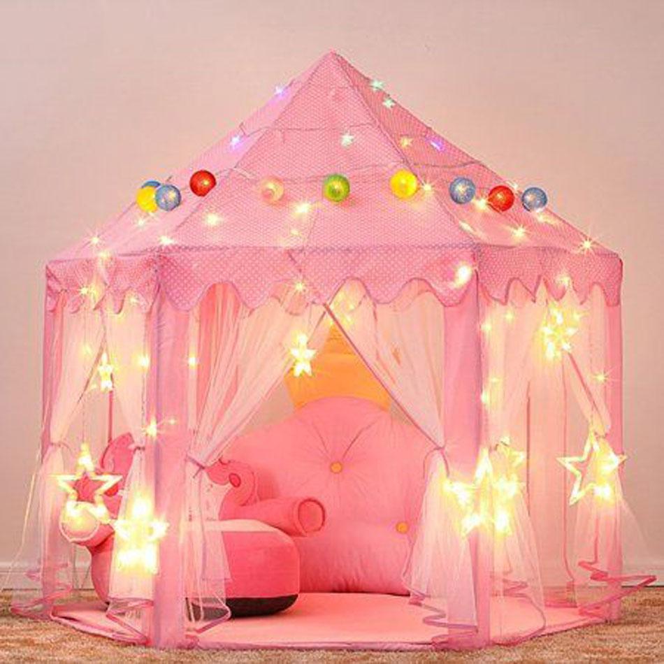 Portable Children's Tent For Kids Tent Toys Girls Princess Castle Tipi Infantil Children's House Vigvam Teepee Baby Tent Gifts