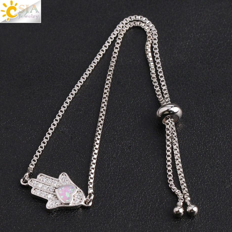 Image 4 - CSJA Religious Style Fatima Hand Charm Bracelet Heart Opal Pave  Zircon Chain Bracelets for Women Men Amulet Fashion Jewelry G105Chain