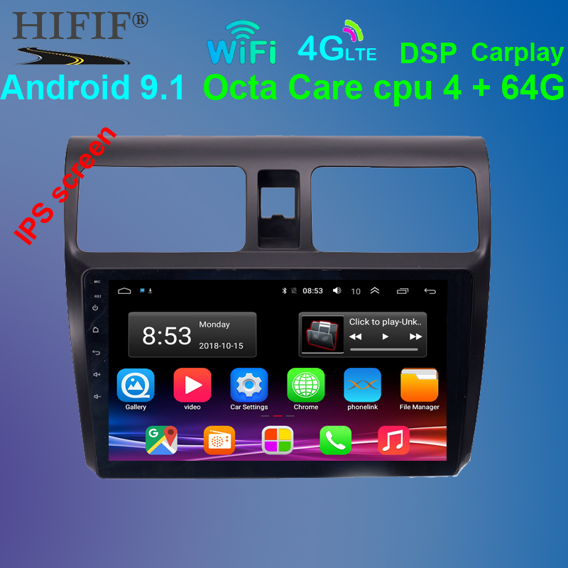 2din <font><b>Android</b></font> 9.1 10.1 inch Car GPS Navigation Radio for <font><b>Suzuki</b></font> <font><b>Swift</b></font> 2005 2006 2007 <font><b>2008</b></font> 2009 2010 Multimedia Player image