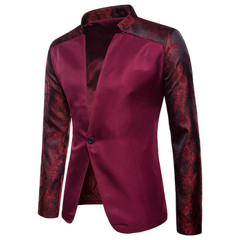 2019 Fashion New Arrival Mens Blazers Solid Color One Button Floral Print on Sleeves Casual Slim Fit White Black Wine