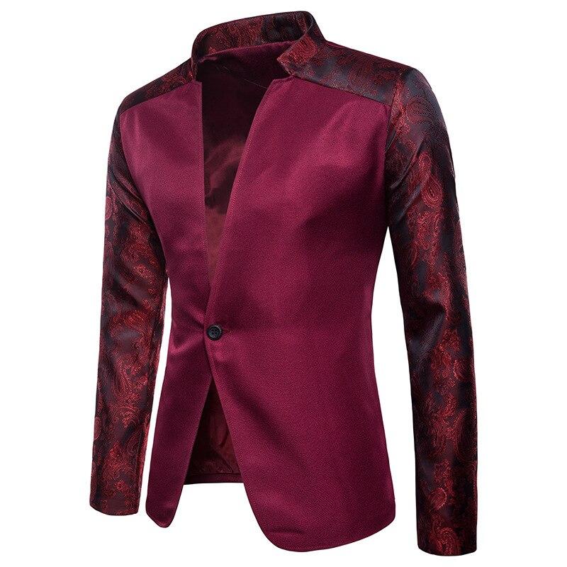 2019 mode nouveauté hommes Blazers couleur unie un bouton imprimé Floral sur les manches décontracté Slim Fit blanc noir vin