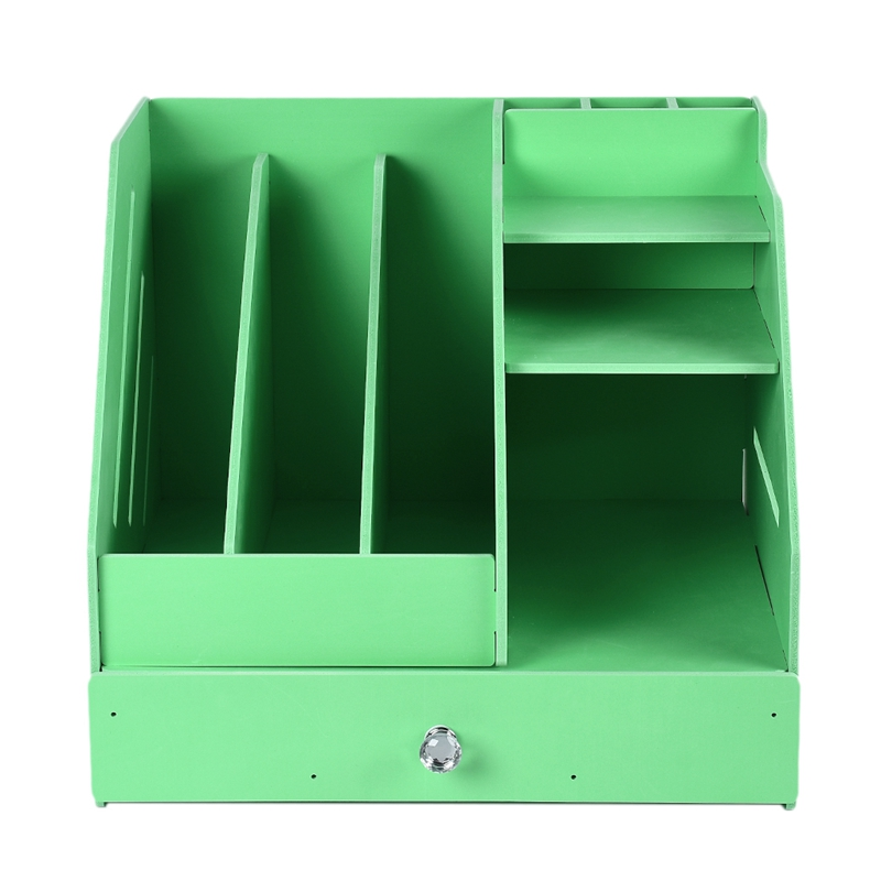 Multi Use Desktop Stationery Organizer Box with Document File Book Stand and Pen Holder Drawer Rack|  - title=