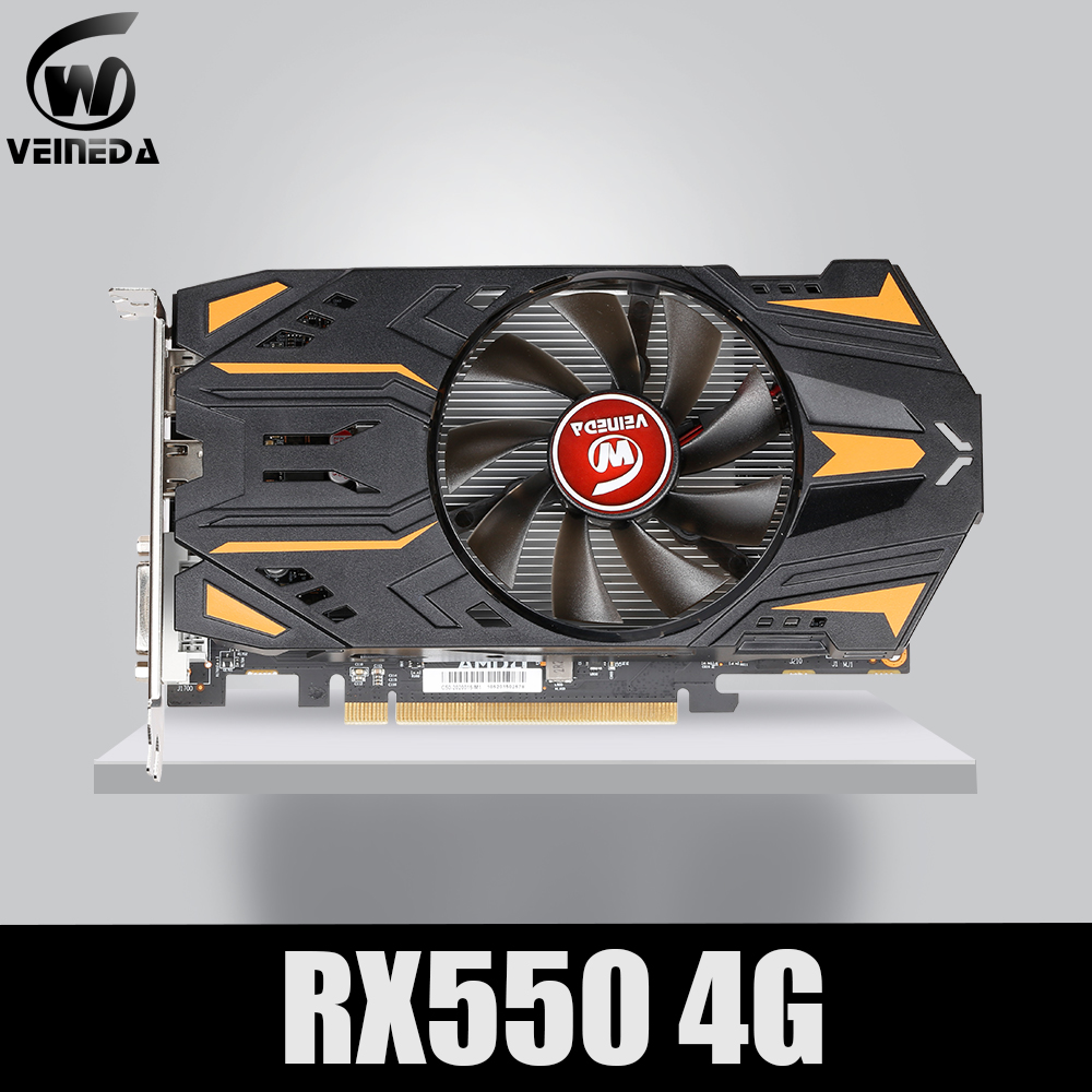 VEINEDA Video Card Radeon <font><b>RX</b></font> <font><b>550</b></font> 4GB GDDR5 128 bit Gaming Desktop computer Video Graphics Cards PCI Express3.0 For Amd Card image