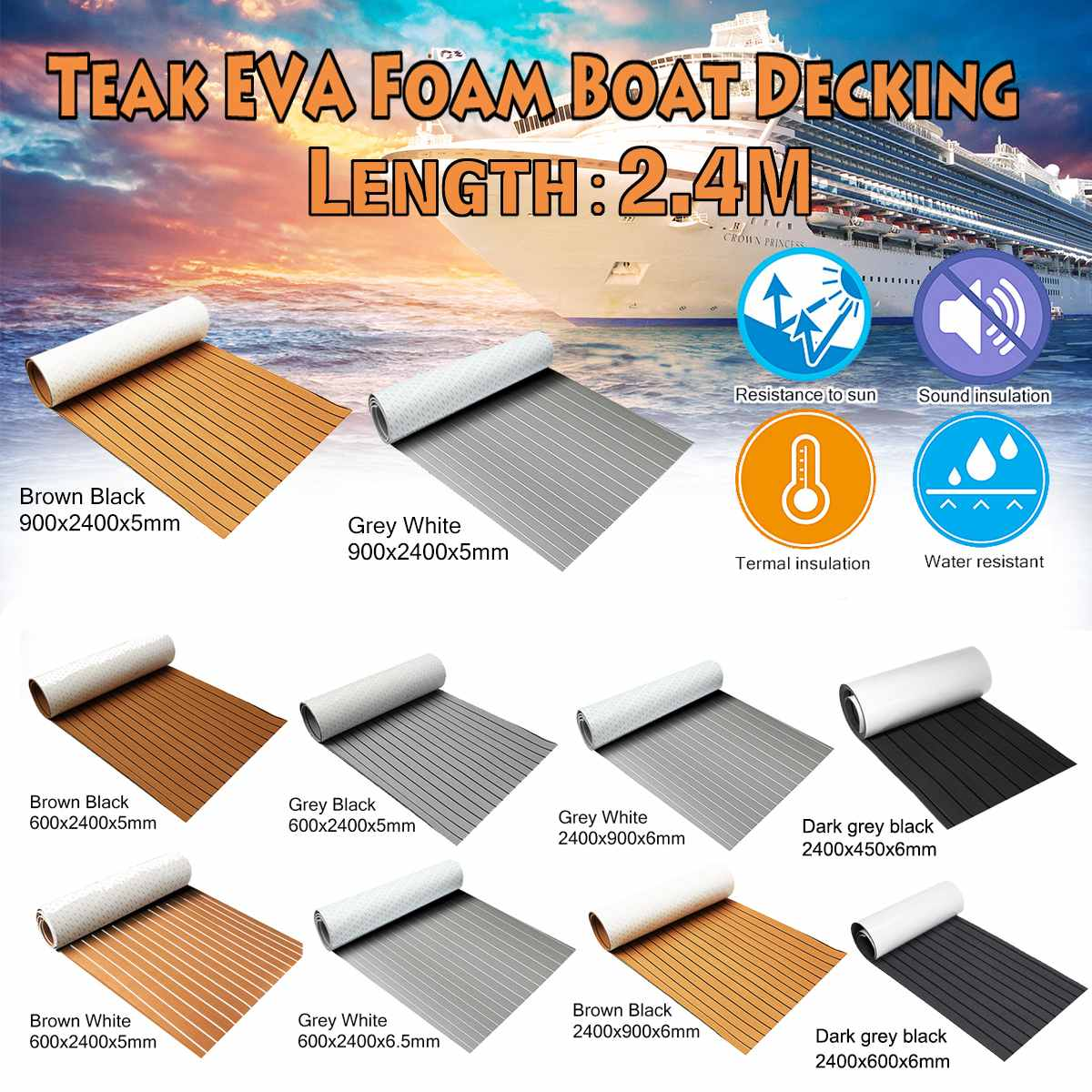 Newest Self-Adhesive EVA Foam Boat Marine Boat Flooring Faux Boat Teak Decking Sheet Accessories Marine 8 Styles