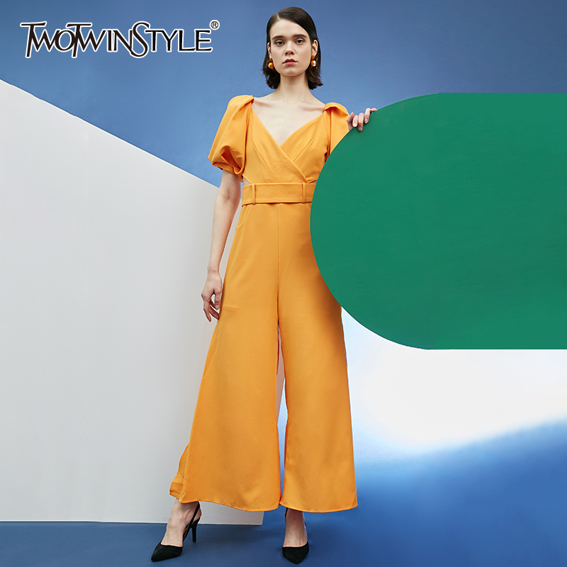 TWOTWINSTYLE Side Split Women's Jumpsuit  Puff Sleeve High Waist With Shashes Wide Leg Pants Jumpsuits Female Spring New 2020