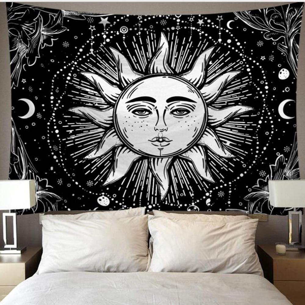 Tapestry White Black Sun Moon Mandala Tarot Tapestries Wall Hanging Celestial Hippie Wall Carpet Rugs Dorm Decor 6M LED Light