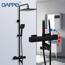 GAPPO thermostaticระบบร้อนเย็นผสมห้องน้ำก๊อกน้ำทองเหลืองอ่างอาบน้ำชุดฝักบัวอาบน้ำthermostatic Mixerสีดำก๊อกน้ำ