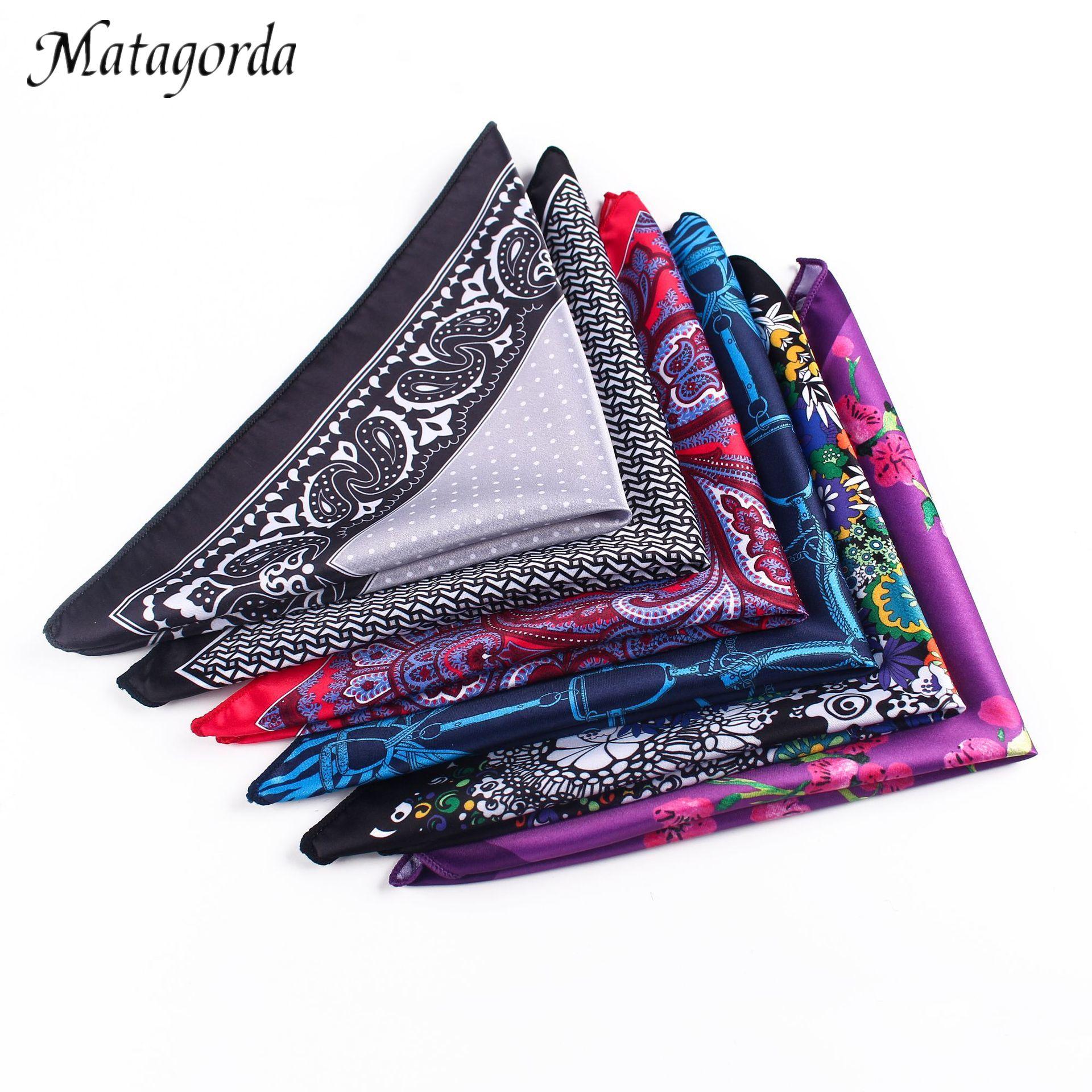 Luxury Brand Matagorda Men Handkerchief Silk Hanky Man Accessory Pocket Squared Handkerchief Scarf Paisley Dot Pringting Cravat