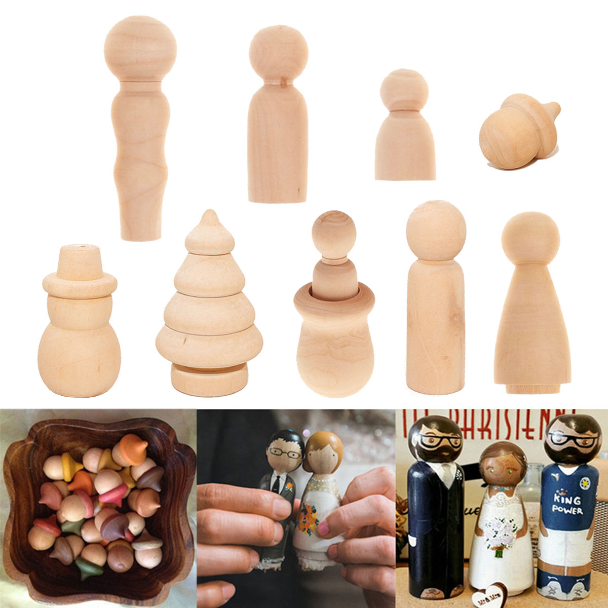 10Pcs/Lot Creative DIY Painting Puppet Toys Children Adults Handmade Painting Wooden Crafts Christmas Wedding Dolls Ornaments