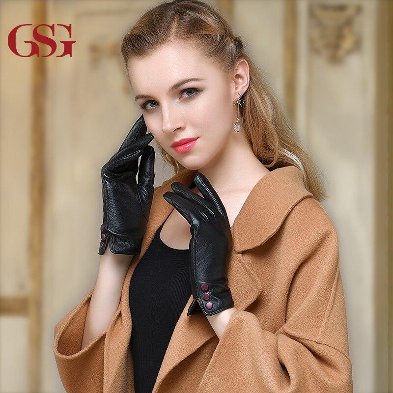GSG téli női öltözködés valódi bőrkesztyűk Női lágy - Ruházati kiegészítők