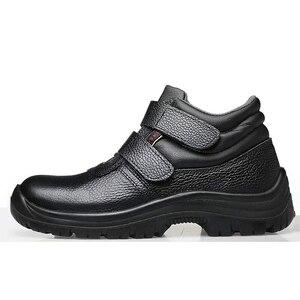 Image 4 - Mens מזדמן גדול גודל בטיחות מגפיים פרה עור פלדת הבוהן מכסה עבודה ריתוך נעליים בחוץ עובד אבטחה קרסול אתחול sapatos