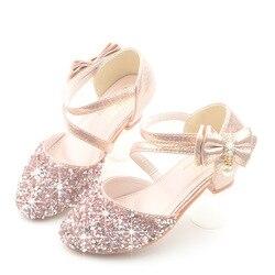 Brokat Little Girl obcasy łuk sandały 2019 duże dzieci buty dla dzieci dla dzieci letnie skórzane sandały 3 4 5 6 7 8 9 10 11 12 13 roku życia w Sandały od Matka i dzieci na