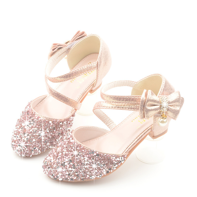 Glitter Little Girl Heels Bow Sandals 2019 Big Kids Shoe For Children Summer Leather Sandals 3 4 5 6 7 8 9 10 11 12 13 Year Old