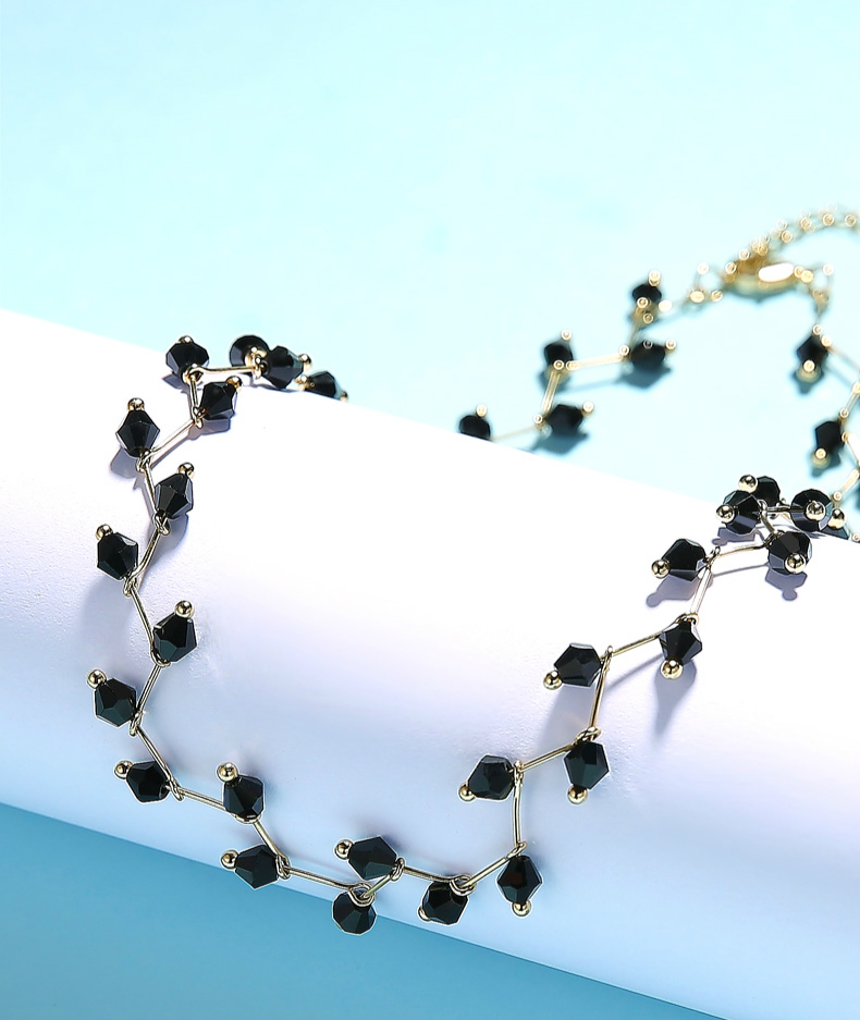 H2ce9cc3ff048468e91270c4555ba92c1y - Fashion Gold Necklace for Women Charming Black Crystal Beads Chain Chokers Handmade Party Jewelry collares Accessories
