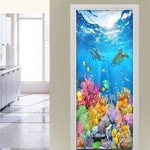 Наклейка на Дверь Самоклеющиеся hd обои с глубокими океанскими