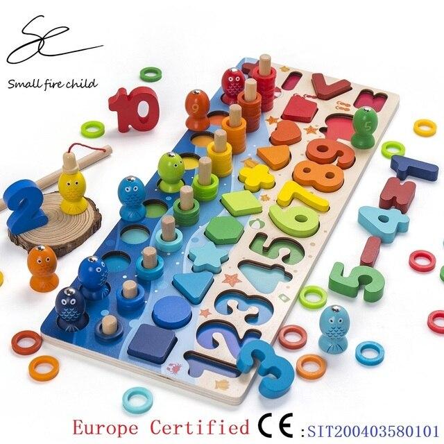 Juguetes Educativos de madera Montessori para niños, rompecabezas cognitivo con forma geométrica, juguetes educativos para edades tempranas