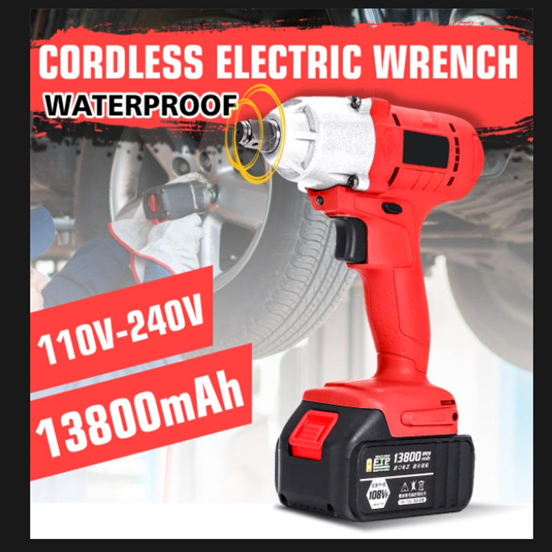 108VF 13800mAh 320Nm Brushless Cordless Electric Wrench Impact Driver Power Tool Rechargeable Lithium Battery Household Drill