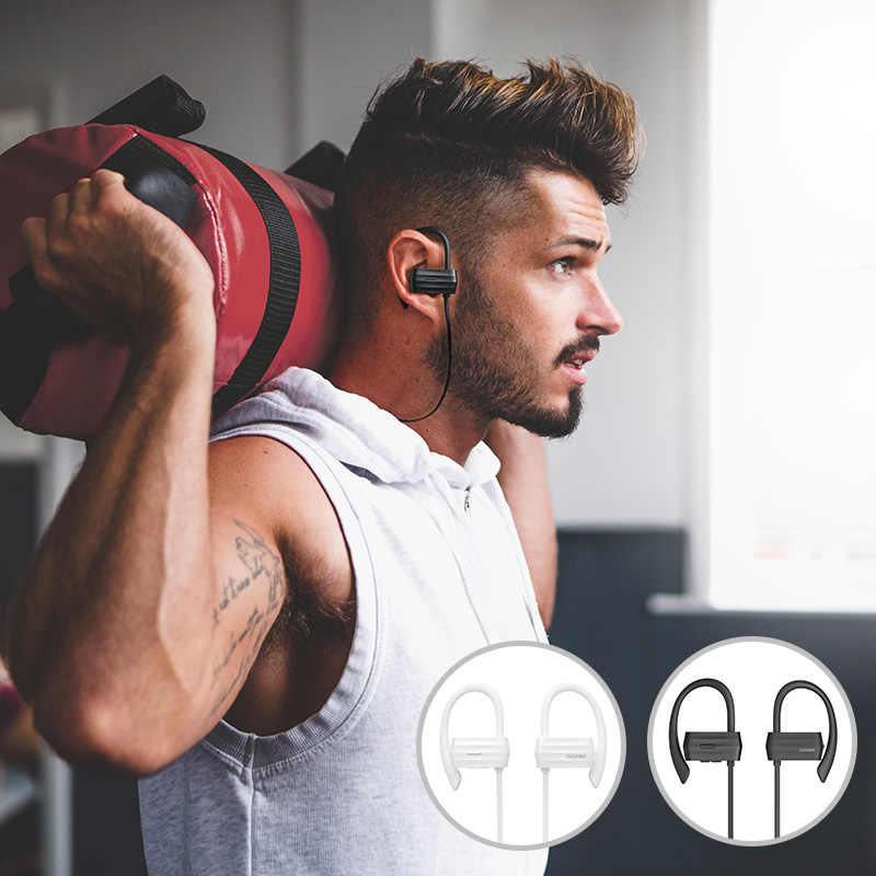 GGMM W600 Sport IPX4 wodoodporne słuchawki bezprzewodowe 6 godzin czas odtwarzania słuchawki Bluetooth z mikrofonem Auriculars słuchawki do biegania