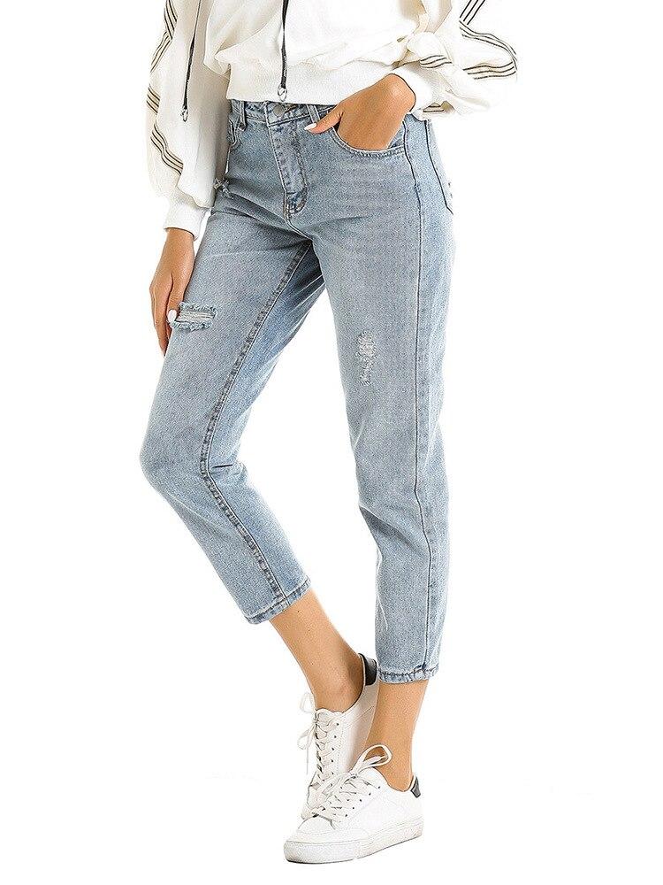 KALENMOS Women High Waist Jeans Loose Button Zipper Clothing New Fashion Casual Female Autumn Winter Elastic Jeans Pencil Pants