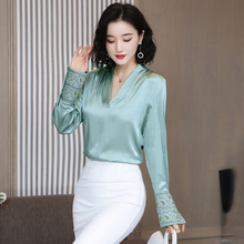 Korean Silk Women Shirts Women Satin Blouse Shirt