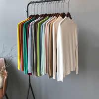 Mooirue Autumn 2019 Femme Korean Style Sweater Knitting High Slim Outwear Feminino Yellow Grey Knitwear