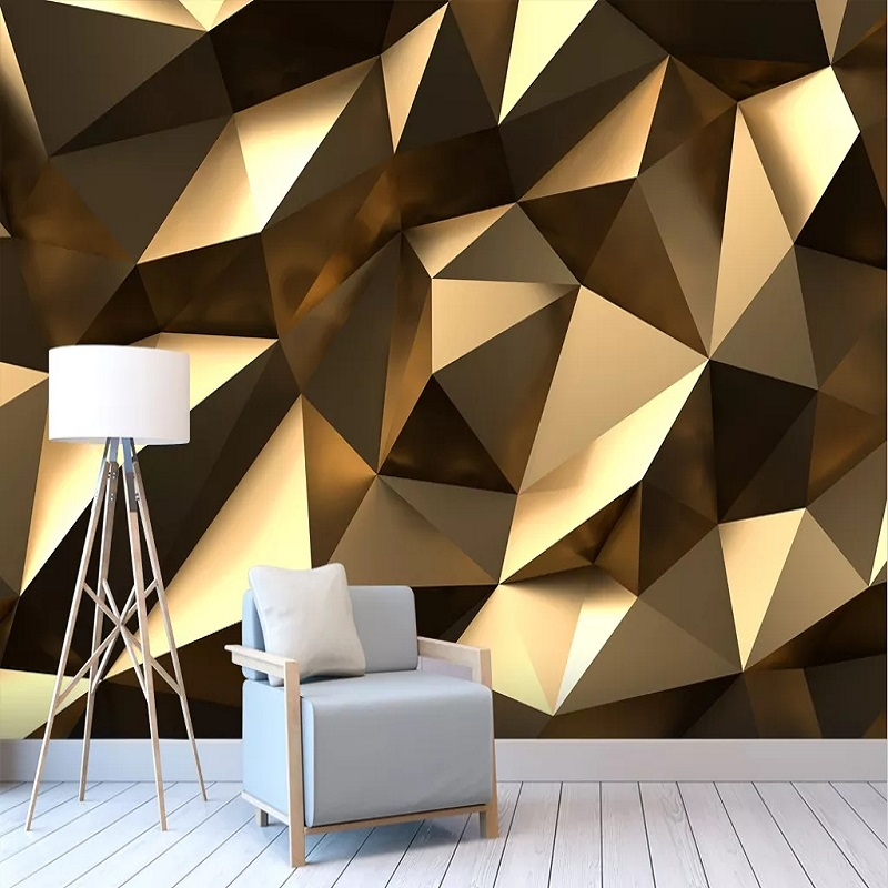 Custom Large Mural 3D Wallpaper Modern Creative 3D Expansion Space Golden Solid Geometric Wall TV Wall Decor Deep 5D Embossed