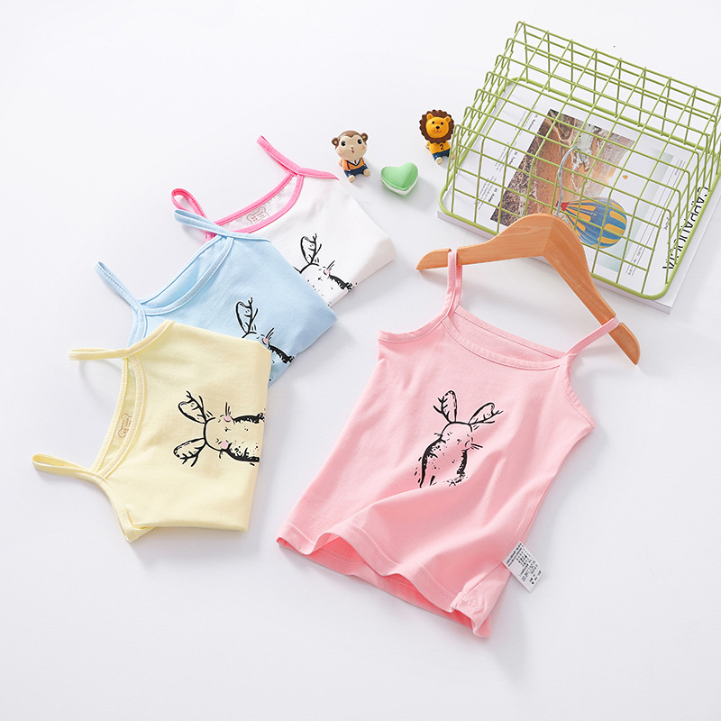 Baby Girls Vest Cartoon Rabbit Printed Cotton Kids Camisole Children Multicolor Undershirts Tops Summer Singlet Teenager Tanks