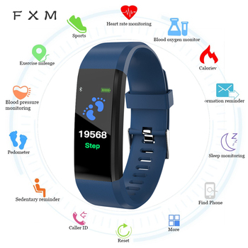 цена на FXM Smart Men Watch Digital Watch Fitness Health Monitor Heart rate Blood Pressure Pedometer Bluetooth Waterproof Sport Bracelet
