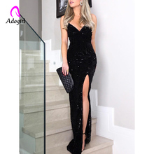 Sequin Sleeveless Long Dress Women High Slit Spaghetti Strap Dresses Sexy V Neck Club Party Dress Maxi Black Evening Vestidos high slit long sleeveless cami dress