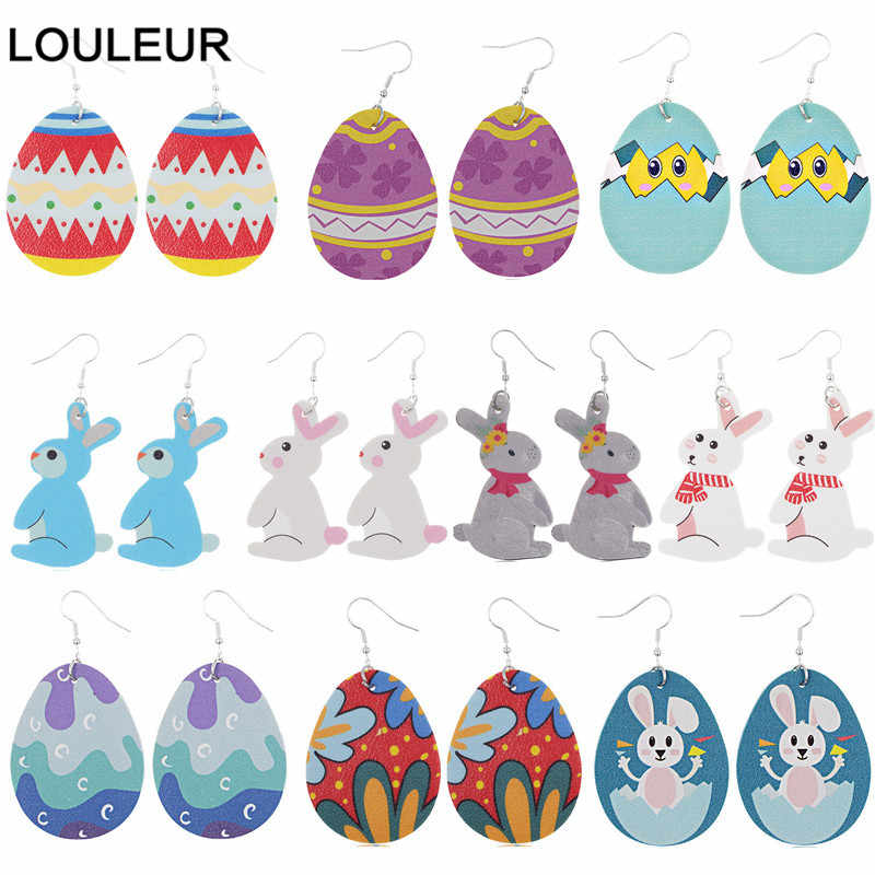Telur Kelinci Easter Bunny Anting-Anting PU Kulit Anting-Anting Drop Anting-Anting Menjuntai Drop Anting-Anting Hadiah Paskah BoHo Anting-Anting Grosir