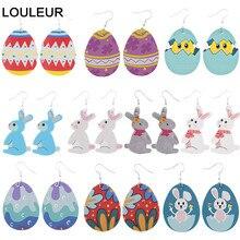 Egg Rabbit Easter Bunny Earrings PU Leather Earrings Drop Earrings Dangle Drop Earrings Easter Gift Boho Earring Wholesale