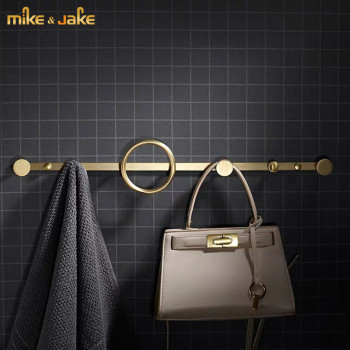 Cooper brass single towel bar gold brush brass cloth hanger hooks robe hooks Europe luxury style brass bathroom shelf door hooks