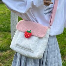 Kawaii плюшевая дизайнерская сумка через плечо Милая зимняя
