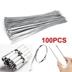 100pcs 4.6x100/300mm Stainless Steel Cable Zip Ties, Locking Metal Zip-Exhaust Wrap Coated Multi-Purpose Locking Cable Ties