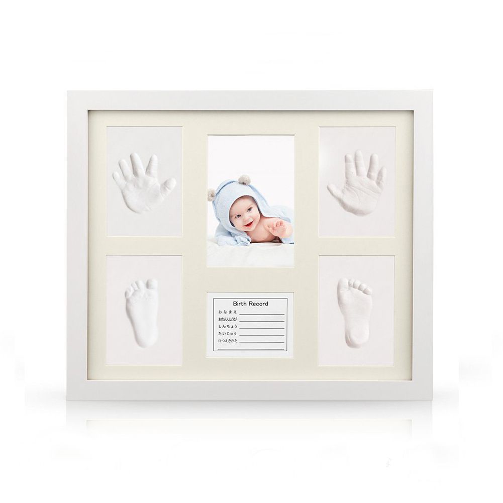Home Tool Gift Desk Decoration Family Wooden Eco Friendly Memory Handprint Photo Frame DIY Non-toxic Crafts Baby Footprint Kit
