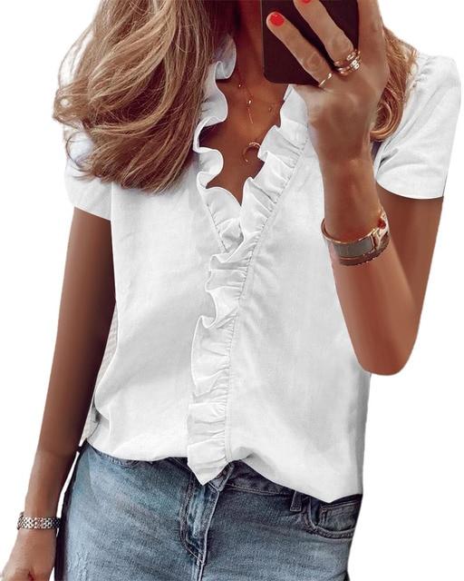 Hirigin 2020 Fashion Summer Ladies Temperament Flouncing Short Sleeve Blouse Sweet Printing Solid Top Casual Shirt Clothing 3
