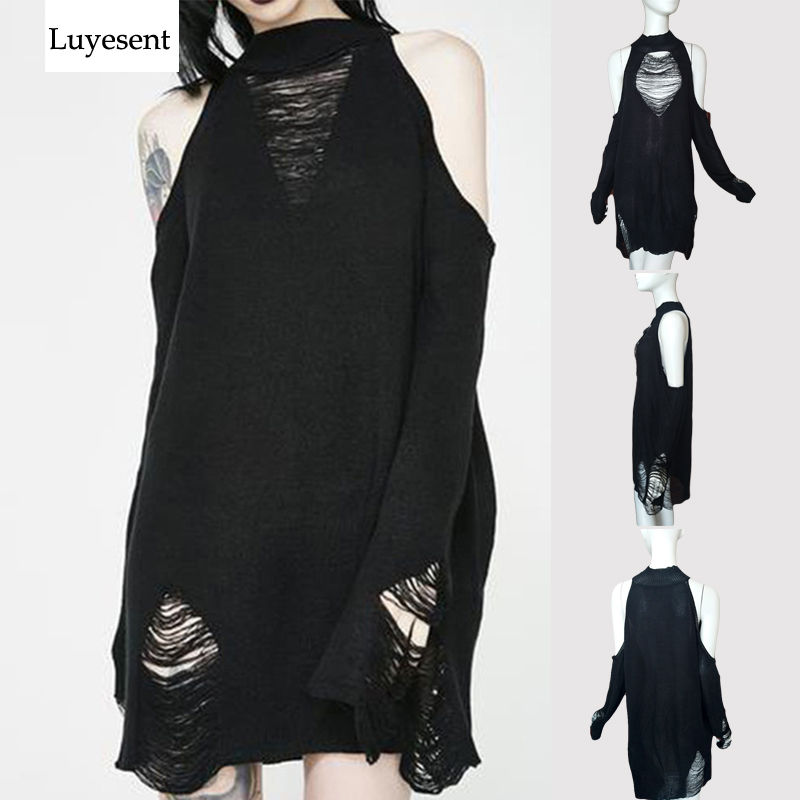 Black Gothic Long Sweaters Women Punk Hollow Out Off Shoulder Thin Hole Pullover Jumpers Cool Broken Knit Sexy Sweater Slit Top