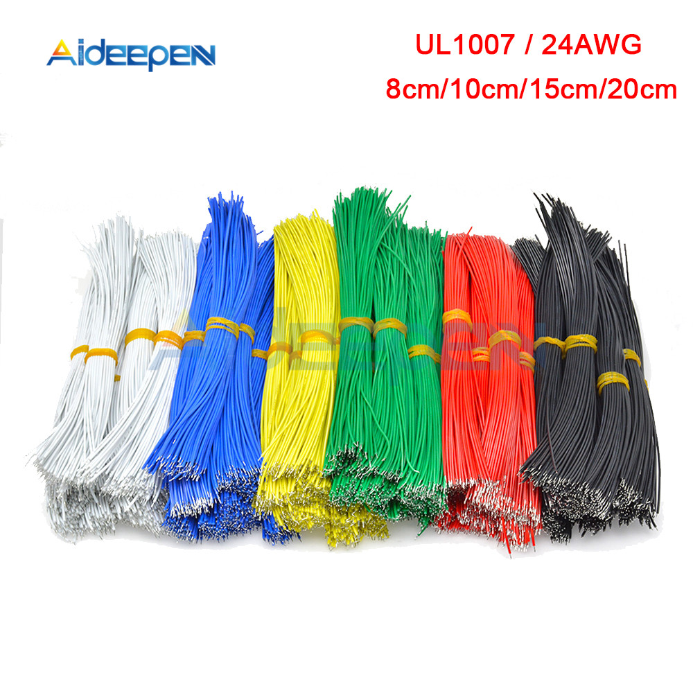 100PCS <font><b>UL1007</b></font> 24AWG Breadboard Jumper Cable Wires Kit 8cm 10cm 15cm 20cm Tinned Copper Conductor Wires 6 Colors PCB Solder Cable image