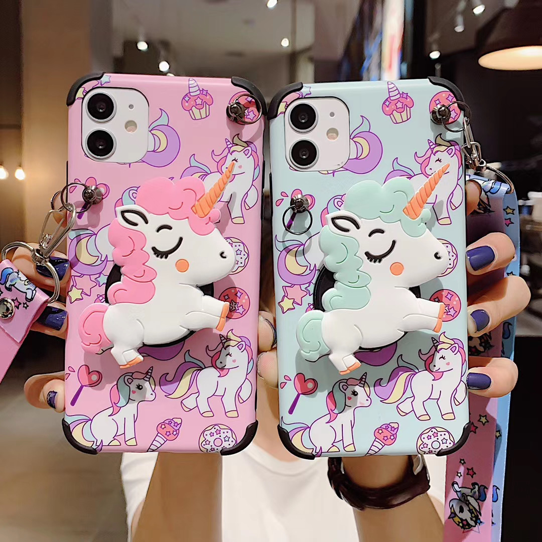 3D Cartoon Cute Rainbow Pink Unicorn Stand Holder With Lanyard Case For Iphone 2020 SE 12 Pro MAX Mini Lovely Anime Phone Cover