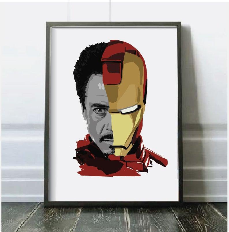 Современная Настенная живопись Мстители персонаж эндшпиль Железный человек Тор Капитан Америка постеры картина холст домашний декор - Цвет: Черный