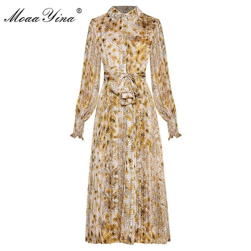MoaaYina Fashion Designer dress Spring Autumn Women's Lace up Dress Lantern sleeve Crystal Dot Print Dresses