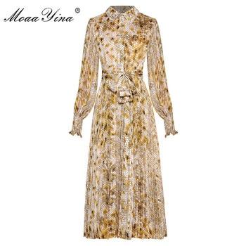MoaaYina Fashion Designer dress Spring Autumn Women's Lace up Dress Lantern sleeve Crystal Dot Print Dresses lace applique lantern sleeve cold shoulder top