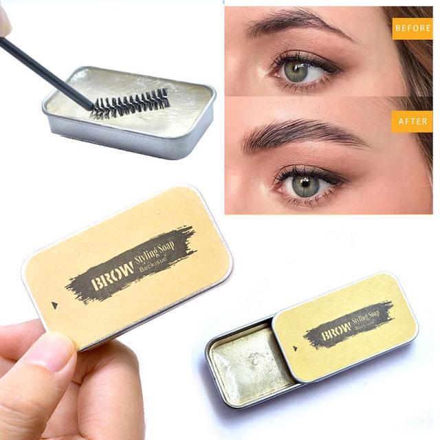 Beckisue Eyebrow Kit Pomade Cosmetics Makeup Gel Soap Cosmetics Balm Styling Eyebrow Tint Pomade Waterproof Brow Lasting 3D Wild 4