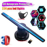 Holograma 3D pantalla publicitaria LED ventilador imagen holográfica 3D LED proyector luz con 16GB tarjeta de memoria publicidad logo lámpara