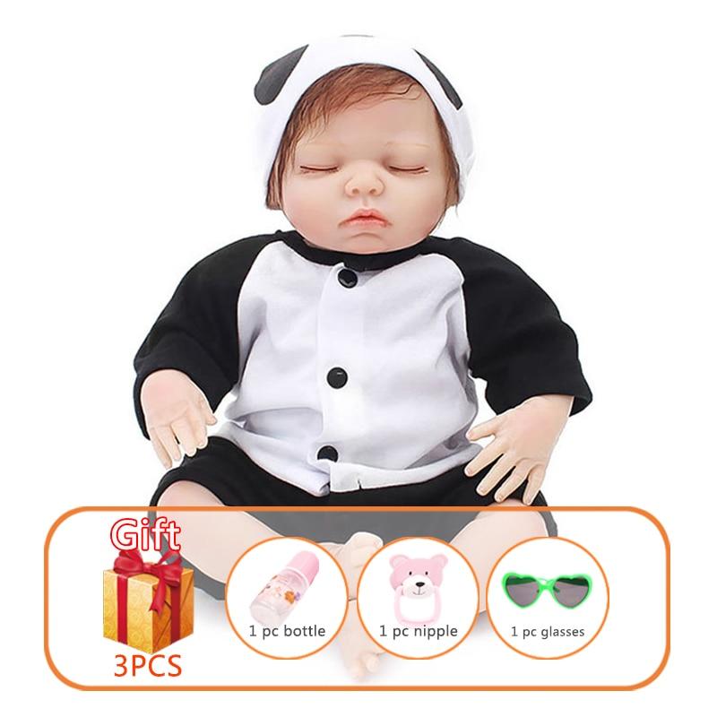 18 pouces jouet bébé poupée Bebe Reborn nouveau-né poupée bébé Silicone poupée réaliste jouets bébé jouet poupée Panda vêtements cadeau jouets pour enfant