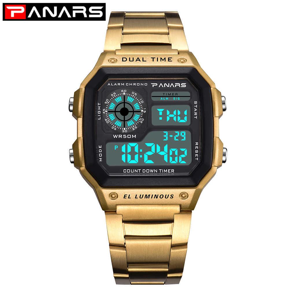 PANARS or montres numériques hommes affaires carré rétro étanche compte à rebours minuterie numérique Led chronomètre horloge montre choc